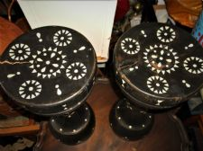 PAIR VINTAGE SOLID CARVED EBONISED WOODEN ETHNIC STOOLS INLAID ABELONE SHELLS
